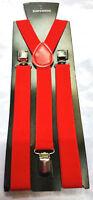 Red Adjustable Trouser Braces Mens Boys Unisex Elastic Y-Back Clipon Suspenders