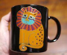 Vintage Laurel Burch Harlequin Cat Japan Black Ceramic Tea Cup Coffee Mug