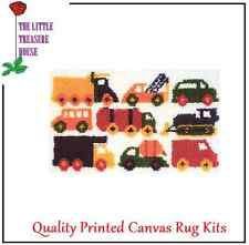 Trucks & Cars printed Canvas Latch Hook Rug Kit - Everything included