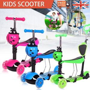 Kids Toddler Child Kick Push Scooter 5 in 1 Flashing Wheel T-Bar Tilt Seat UK
