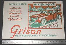 BUVARD 1950 GRISON ENTRETIEN CHAUSSURES AUTOMOBILE AUTO PEUGEOT 403 VERT-ROUGE