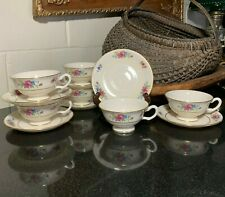 """6 Lenox Rose 2 1/4"""" Footed Cups and Saucers Gold Trim Usa J-300 - Excellent"""