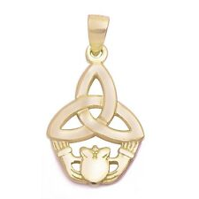 Yellow Gold Plated Celtic Design Irish Claddagh .925 Sterling Silver Pendant