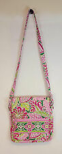 Vera Bradley PINWHEEL PINK Triple Zip HIPSTER Messenger CROSSBODY Bag RETIRED