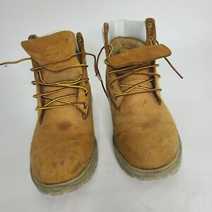 Timberland Boys Wheat And White Size 6.5 Work Boots.