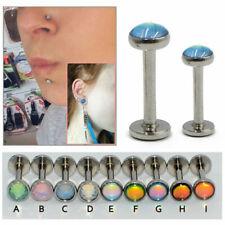 2X Surgical Steel Opal Stone Ear Stud Tragus Helix Earring Piercing Body Jewelry