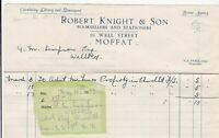 Moffat 1932 Robert Knight & Son For Advert. Property Invoice & Receipt Rf41254