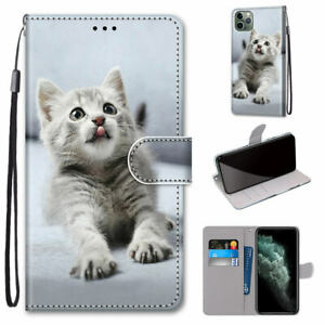 Little Gray Cat Cute Animal Cartoon Flip Wallet Hot Case Cover For Various Phone