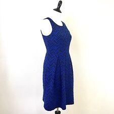 41 Wawthorn Stitch Fix Chevron Print Fit Flare Dress Size Medium Black Blue