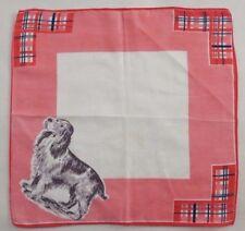 Vintage Childs Hanky Handkerchief ~ Peach Border Spaniel Sporting Dog in Corner