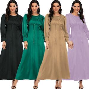 Abaya Dubai Women Satin Long Sleeve Maxi Dress Muslim Kaftan Cocktail Party Gown