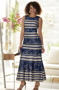 Alyssandra Gown Dress Ashro Blue Navy Nude Lace Formal Cruise 10 12 14 16