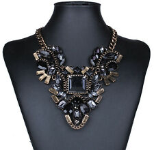 Retro Elegant Resin Drop Crystal Flower Geometry Chunky Choker Bronze Necklace