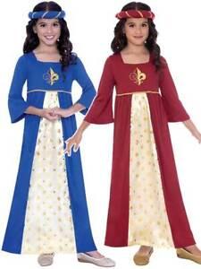 Girls Medieval Tudor Maiden Princess Fancy Dress Royal Costume Book Week Kids