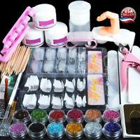 US Nail Acrylic Powder Glitter Tools Kit Manicure Art Tool Tips Brush Starter