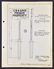 "Vintage Railroad C.B. & Q. R.R. Metal Track Sign Specs. ""Private Property"" 1919."