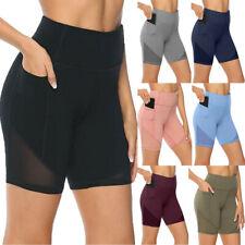 Womens High Waist Pocket Fitness Sports Shorts Running Training Yoga Hot Pants
