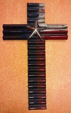 "HOME DECOR WESTERN RUSTIC TEXAS FLAG METAL WALL CROSS 18"" PEWTER LOOK LONE STAR"
