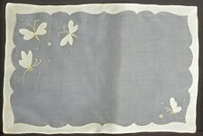 YELLOW BUTTERFLIES – 6 VINTAGE MADEIRA EMBROIDERED ORGANDY PLACEMATS TT817