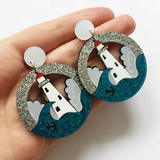 White & Blue Lighthouse Glitter Laser Cut Acrylic Statement Earrings UK Ocean