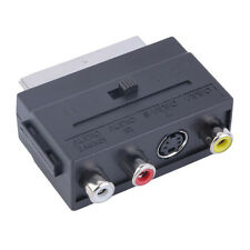 NEW SCART To 3 RCA Composite Phono with SVHS S-Video Adaptor In / Out Switch FR