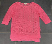 Next Bright Pink Chevron Mesh Summer Holiday Beach Cover-Up Top 14/16 Semi-Sheer