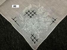 12 Pieces Hand Stitch Embroidered Embroidery Fine Linen Handkerchief Hankie #6
