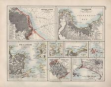 1909 VICTORIAN MAP ~ BUENOS AIRES ENVIRONS TOWN PLAN RIO VALPARAISO LIMA CALLAO