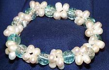 Bracelet  en perles et billes bleu transparente verre facon Murano