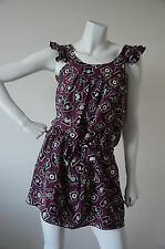 ANNA SUI PURPLE SILK TELEPHONE SUMMER DRESS SIZE 0 SMALL PREOWNED