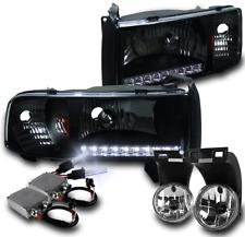 1994-2001 DODGE RAM BLACK DRL LED HEADLIGHTS+BUMPER FOG LAMP+50W 8000K XENON HID