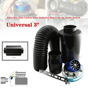 "3""Universal Filter Box Carbon Fiber Cold Air Intake Parts W/Double Turbine Turbo"