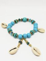 Bracelet Bijoux femme Fantaisie Bleu avec Coquillages & Perles, Bois NEUF ref 11