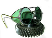 Antique Willson Green Sunglasses Goggles Vtg Old Steampunk Safety Glasses Specs