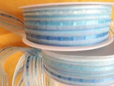 100 metres stunning BLUE organza & satin design ribbon 25mm wide WHOLESALE ROLLS