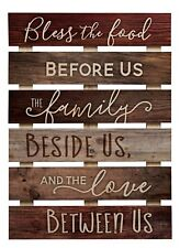 Bless The Food Before Us Brown Distressed Solid Pine Wood Skid Wall Plaque Sign