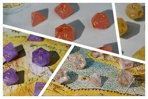 Dice Crystalline Poly Set 7 Various Colours D&D DND D20 12 10 8 6 4 UK Gift
