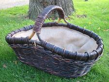 Kaminkorb, Zeitungskorb, Holzkorb, Riesenkorb aus Rattan, dunkel braun