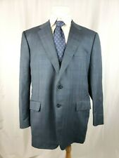 CORNELIANI Mens Size 50 R Blue Gray Windowpane 2 Button Wool Sportcoat Blazer