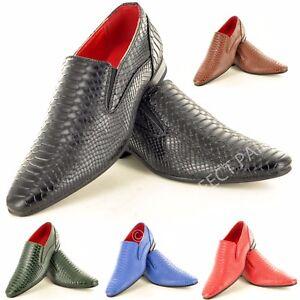 Mens Crocodile Skin Pattern Winkle Pickers Slip on Dress Shoes in UK Size 6-12