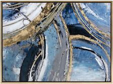 "47"" Large Edgy Blue & Metallic Gold Circular Acrylic Painting Wood Frame"