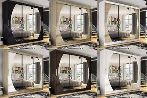 "Modern Wardrobe ""NOTSA 5"" Sliding Doors Mirror Hanging Rail Shelves width 250 cm"