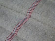 Antique European Feed Sack GRAIN SACK Red & Blue Stripes # 9758