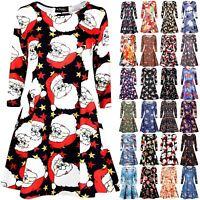 Womens Ladies Xmas Long Sleeve Santa Reindeer Christmas Swing Flared Mini Dress