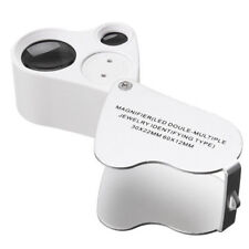 30X 60X White Magnifier Jewelry Identify Loupe Led Light Double-multiple Type