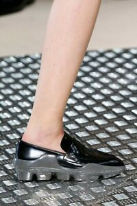 PRADA F/W 2015 RUNWAY Gray Leather Black Molded Rubber Loafers Shoes IT38/US7.5