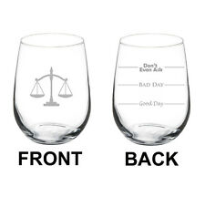Stemless Wine Glass 17oz 2 Sided Lawyer Law Attorney Scales Of Justice Paralegal