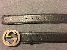 Pre-owned GUCCI Men's classic black gucci signature leather belt ITALY 38/95