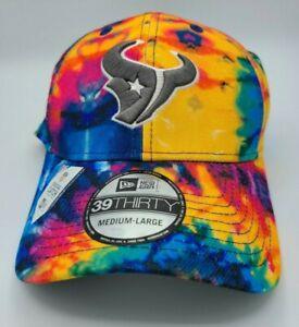 Houston Texans Hat New Era 39Thirty Crucial Catch Tie Dye Flex Fit Cap M/L