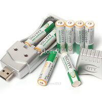 8PCS AAA 1.2V 1350mAh Ni-MH BTY Rechargeable Battery With AA AAA USB Charger Set